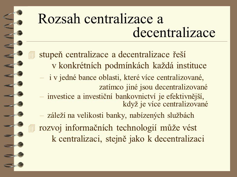 Rozsah centralizace a decentralizace