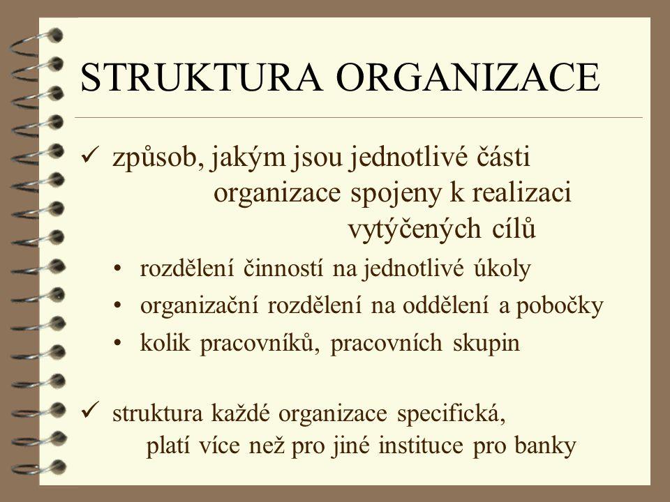 STRUKTURA ORGANIZACE způsob, jakým jsou jednotlivé části organizace spojeny k realizaci vytýčených cílů.