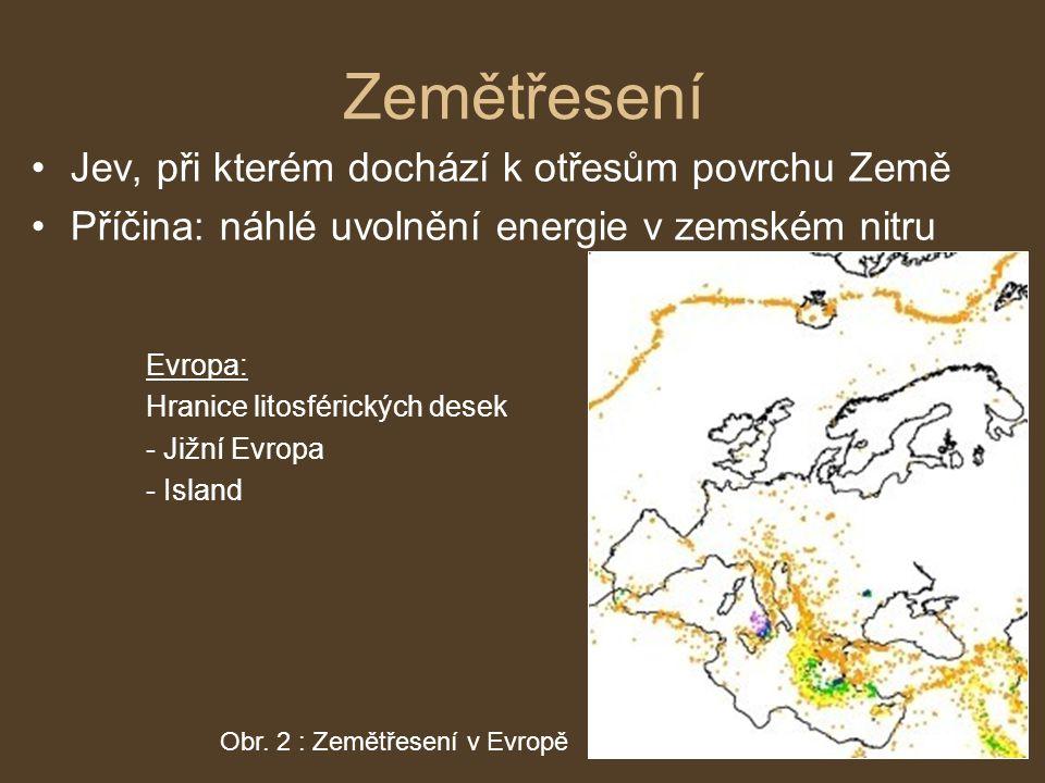 Zemětřesení Jev, při kterém dochází k otřesům povrchu Země