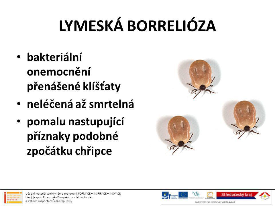 LYMESKÁ BORRELIÓZA bakteriální onemocnění přenášené klíšťaty