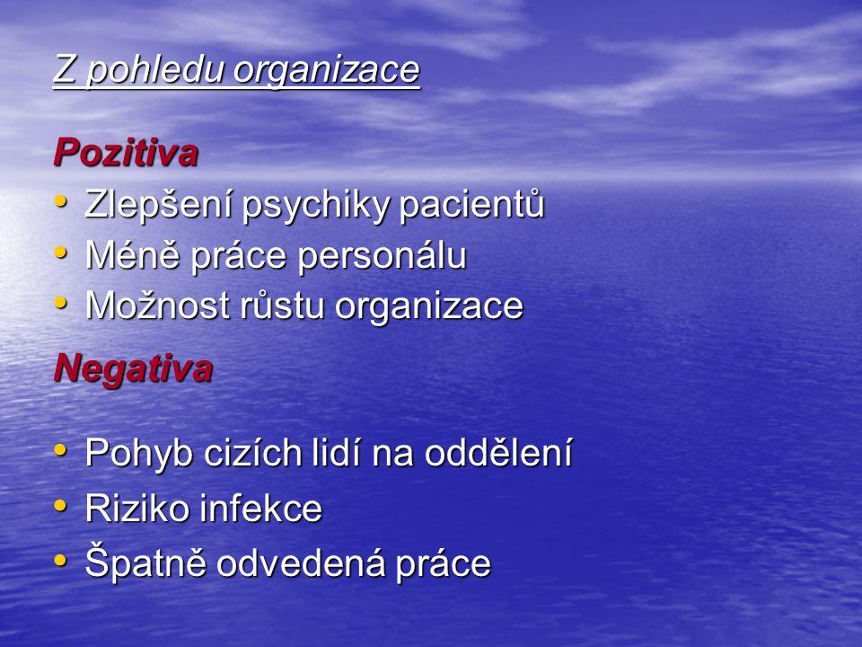Z pohledu organizace Pozitiva. Zlepšení psychiky pacientů. Méně práce personálu. Možnost růstu organizace.