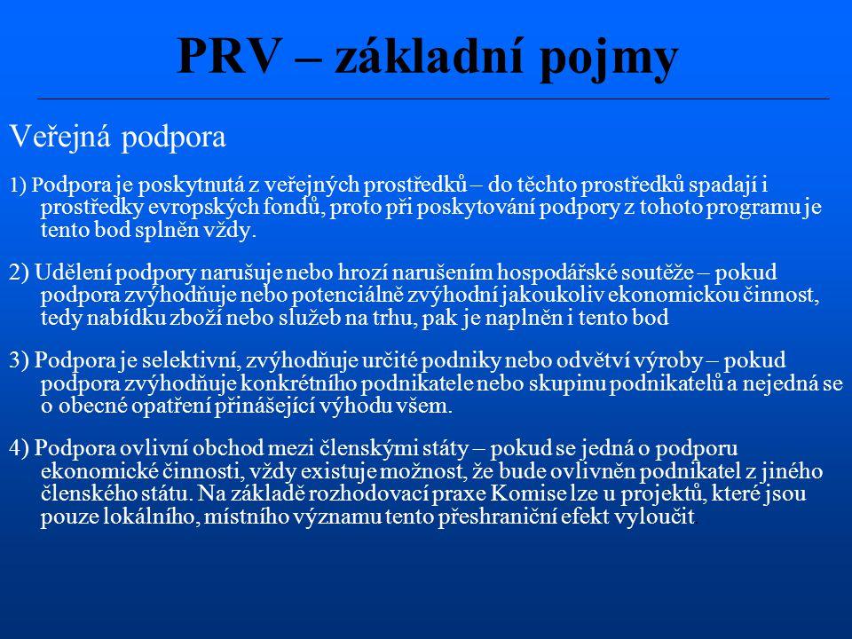 PRV – základní pojmy Veřejná podpora