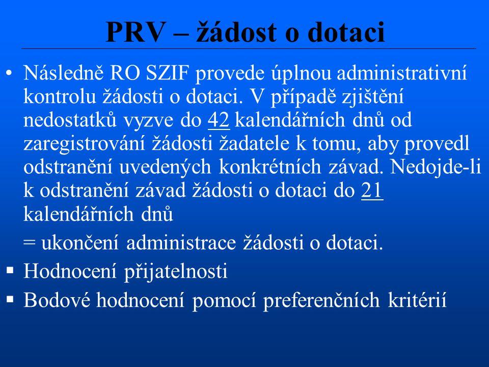 PRV – žádost o dotaci