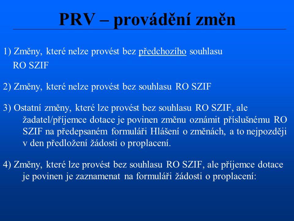 PRV – provádění změn 1) Změny, které nelze provést bez předchozího souhlasu. RO SZIF. 2) Změny, které nelze provést bez souhlasu RO SZIF.