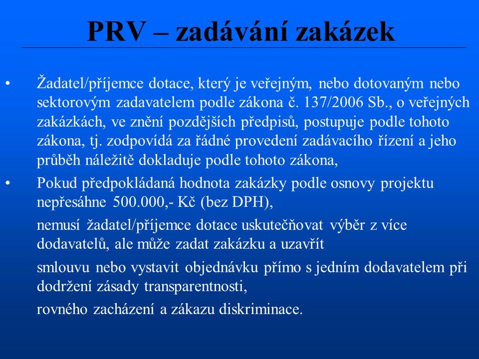 PRV – zadávání zakázek