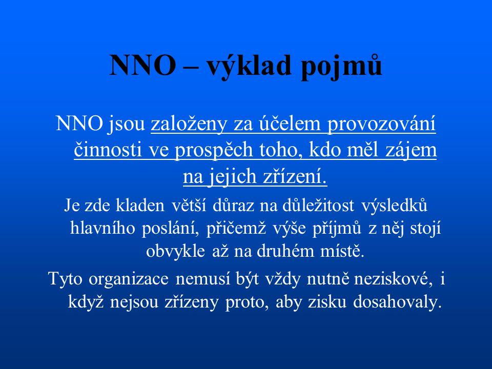 NNO – výklad pojmů NNO jsou založeny za účelem provozování činnosti ve prospěch toho, kdo měl zájem na jejich zřízení.