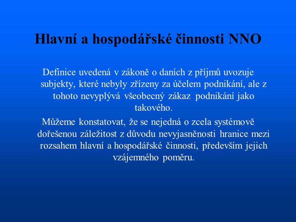 Hlavní a hospodářské činnosti NNO