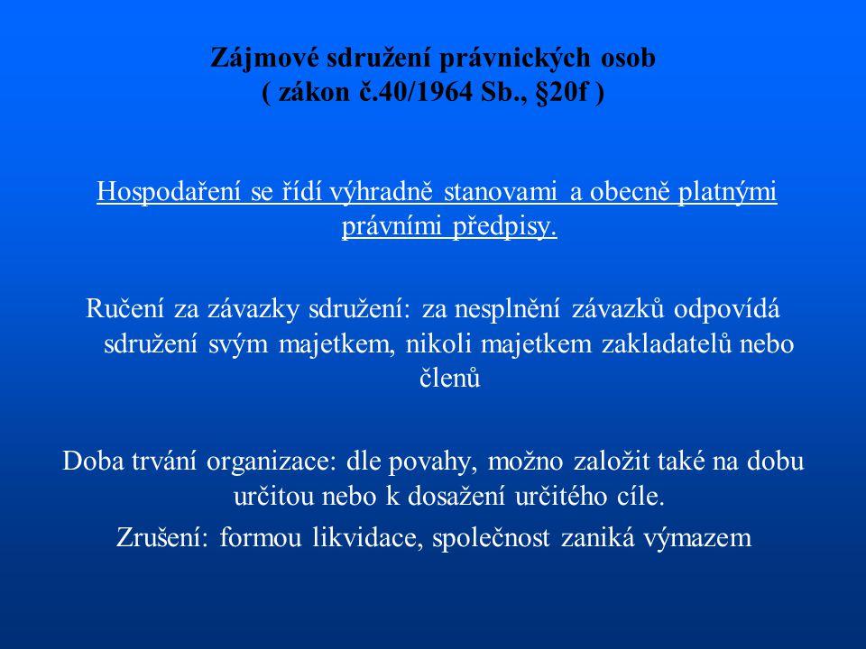 Zájmové sdružení právnických osob ( zákon č.40/1964 Sb., §20f )