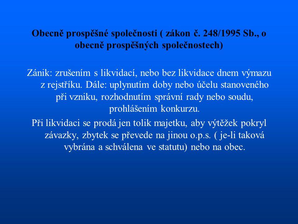 Obecně prospěšné společnosti ( zákon č. 248/1995 Sb