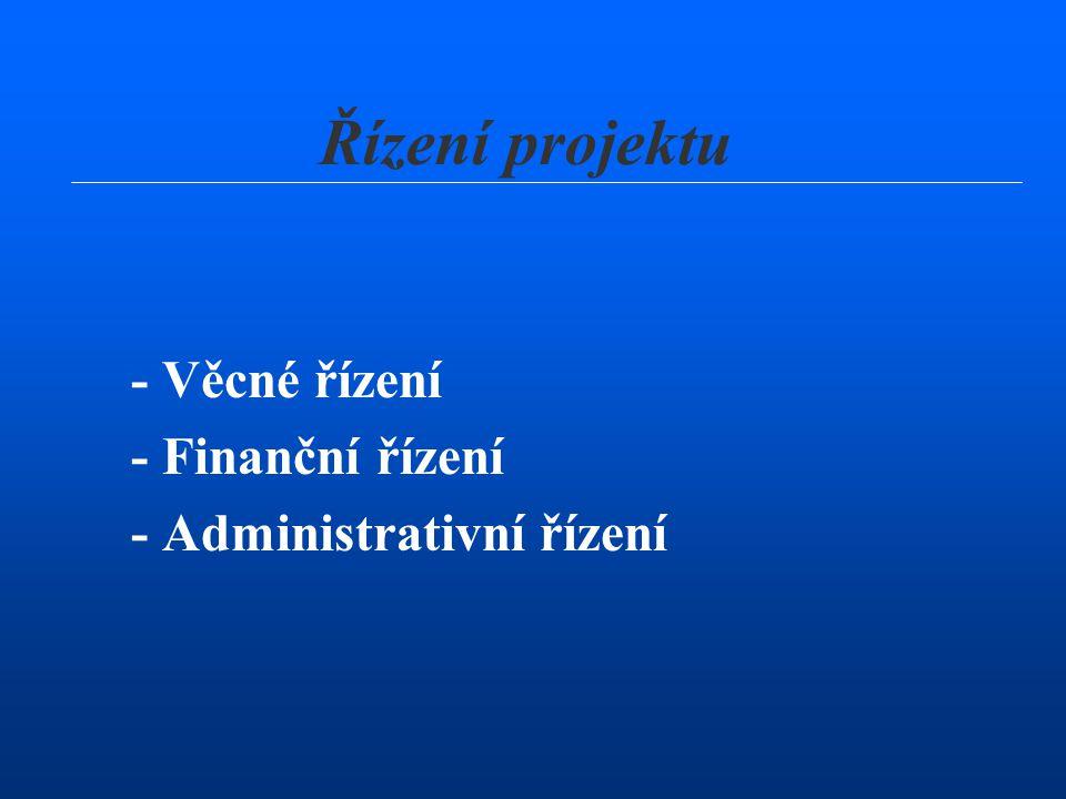 Řízení projektu - Věcné řízení - Finanční řízení