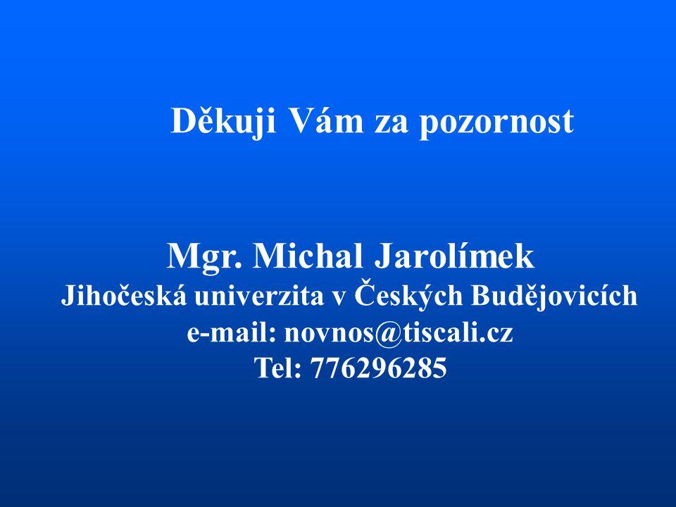 Mgr. Michal Jarolímek Děkuji Vám za pozornost