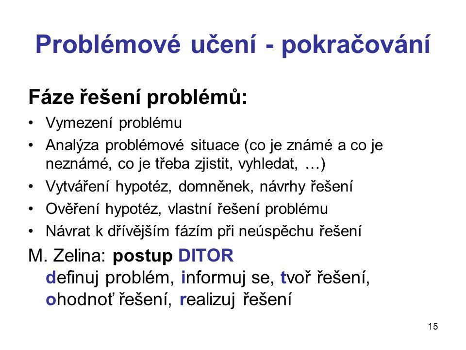 Problémové učení - pokračování