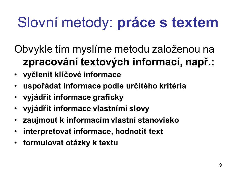 Slovní metody: práce s textem