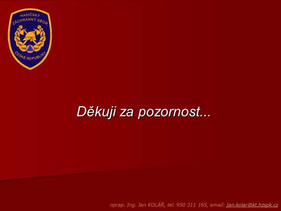 Děkuji za pozornost... nprap. Ing. Jan KOLÁŘ, tel. 950 311 165, email: jan.kolar@kt.hzspk.cz