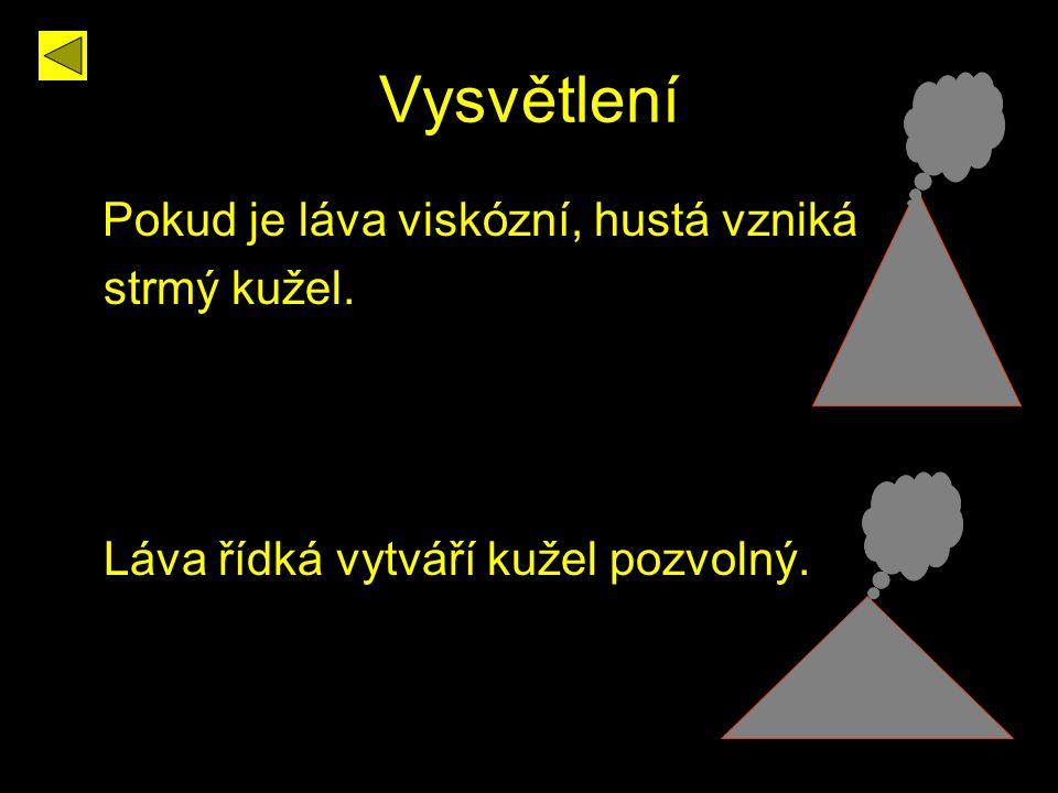 Vysvětlení Pokud je láva viskózní, hustá vzniká strmý kužel.