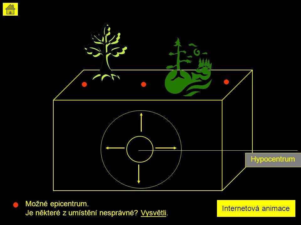 Hypocentrum Možné epicentrum. Je některé z umístění nesprávné Vysvětli. Internetová animace