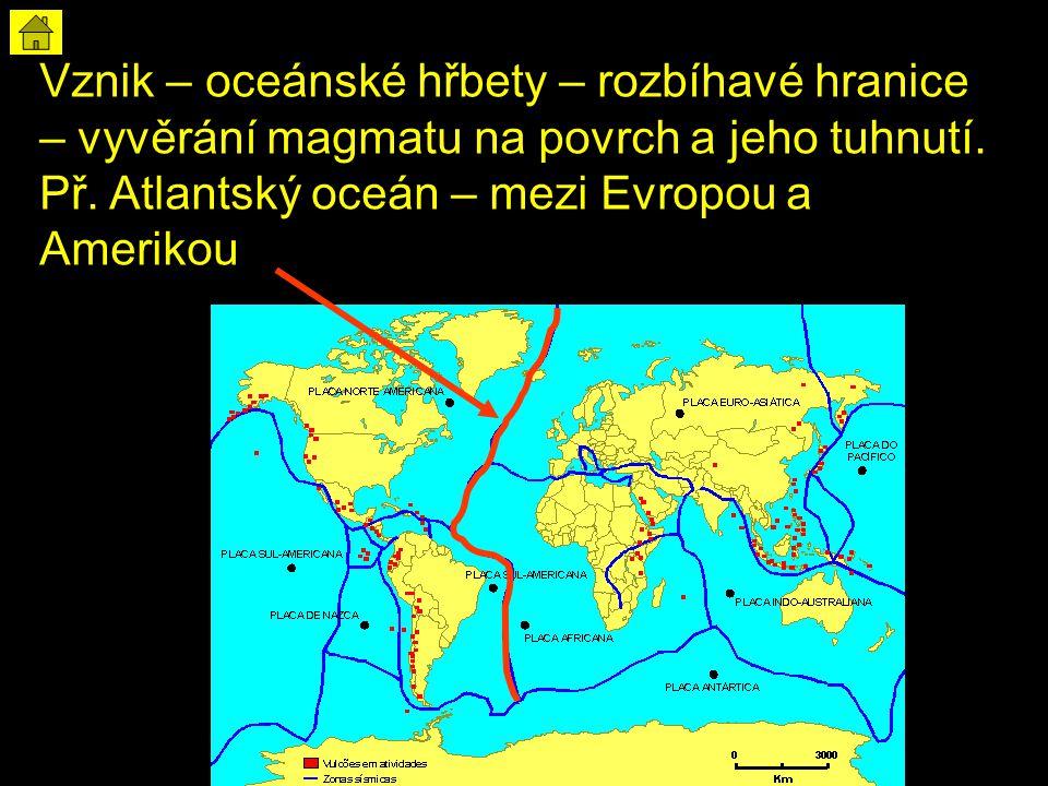 Vznik – oceánské hřbety – rozbíhavé hranice – vyvěrání magmatu na povrch a jeho tuhnutí.