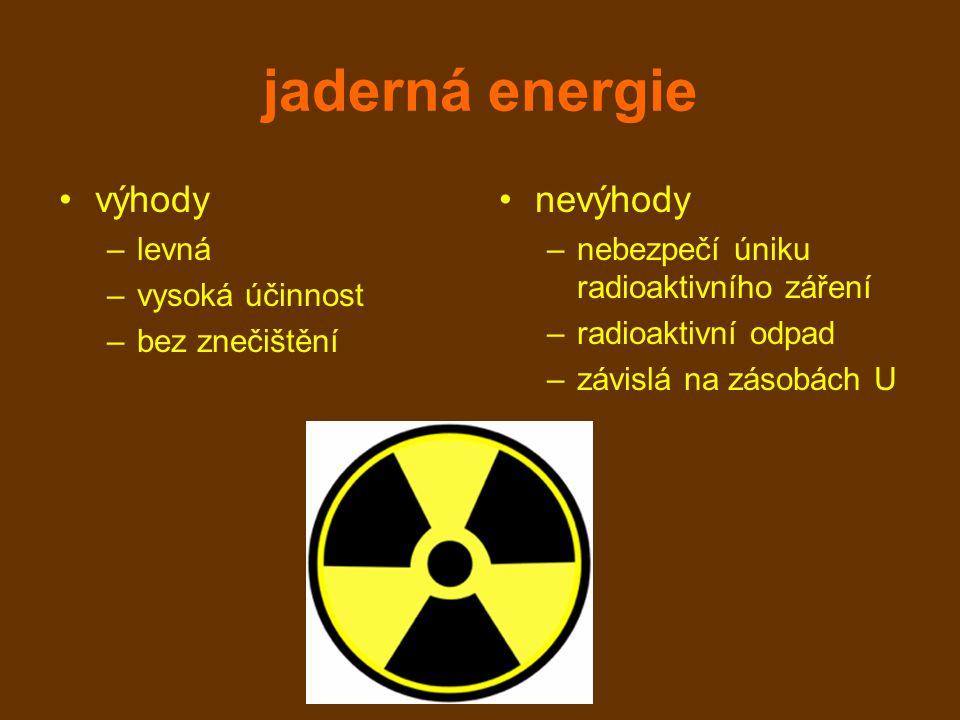 jaderná energie výhody nevýhody levná vysoká účinnost bez znečištění