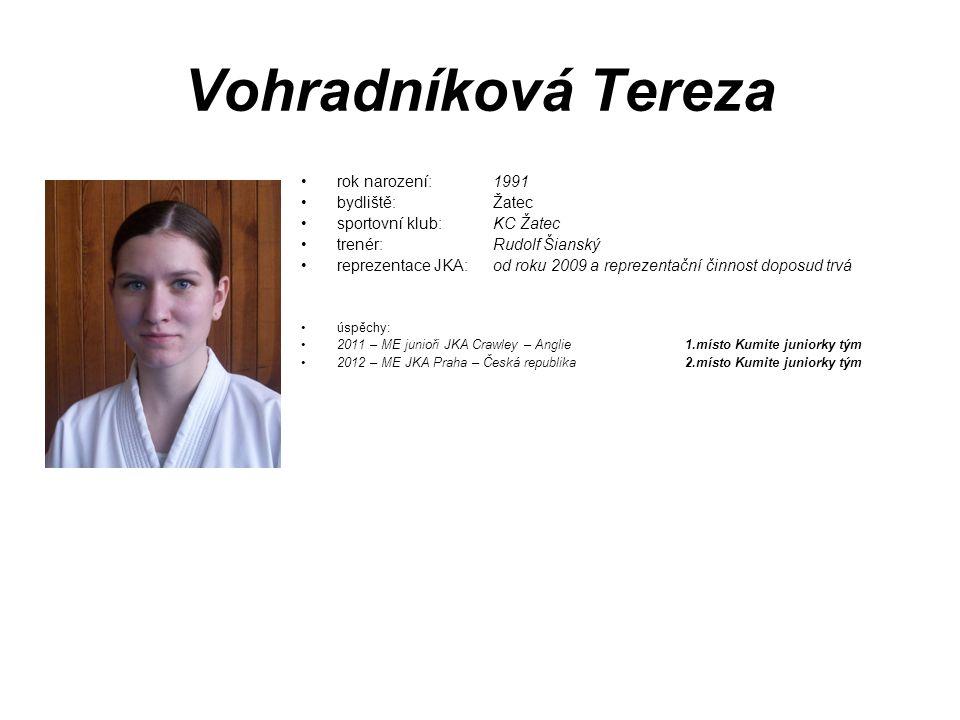 Vohradníková Tereza rok narození: 1991 bydliště: Žatec
