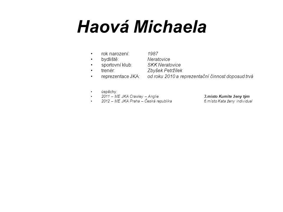 Haová Michaela rok narození: 1987 bydliště: Neratovice