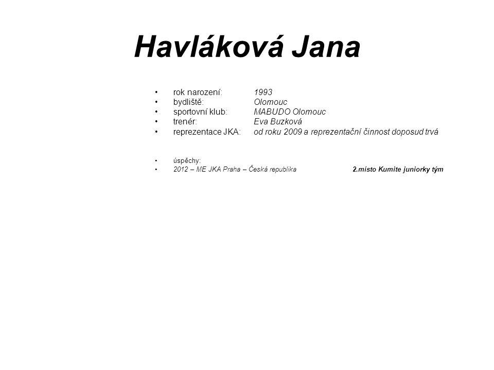 Havláková Jana rok narození: 1993 bydliště: Olomouc