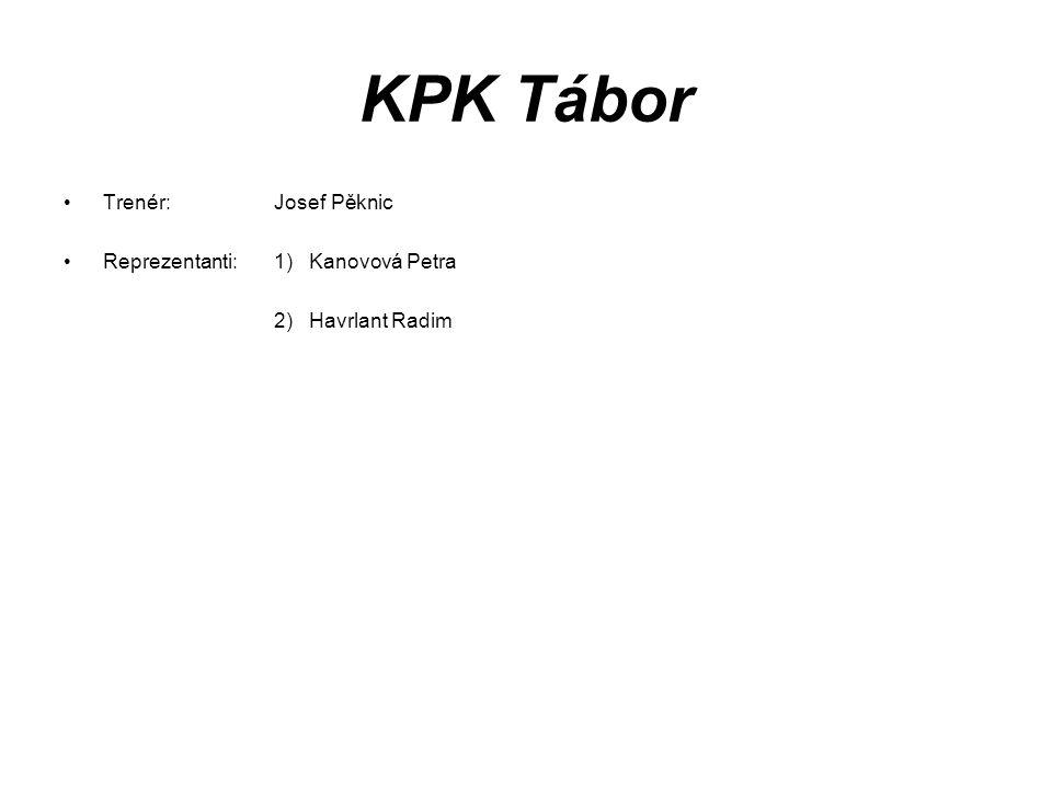 KPK Tábor Trenér: Josef Pěknic Reprezentanti: 1) Kanovová Petra