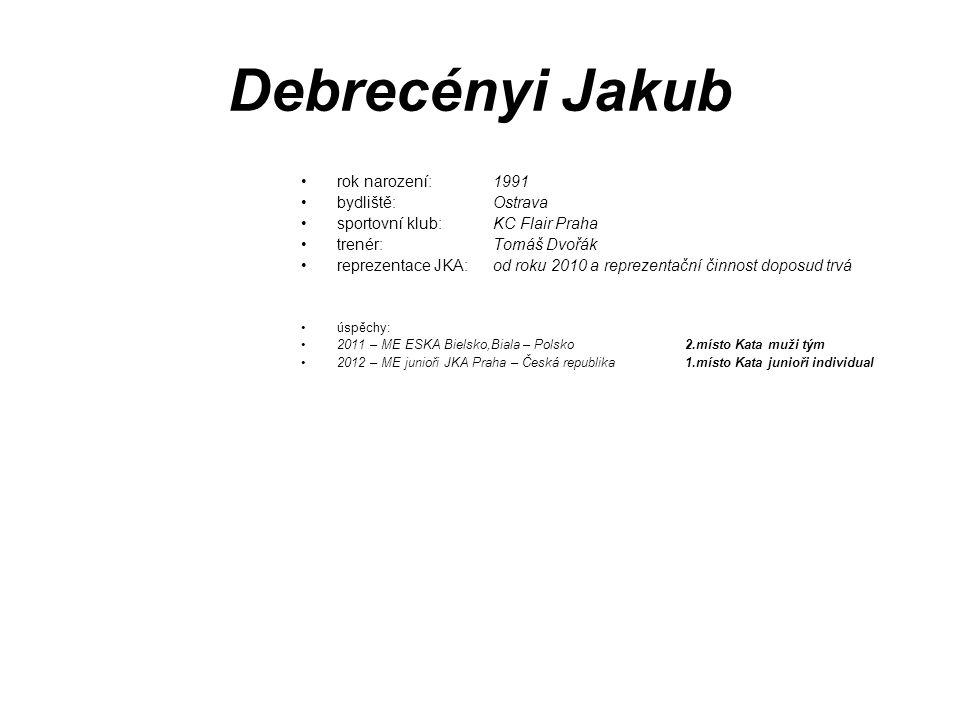Debrecényi Jakub rok narození: 1991 bydliště: Ostrava
