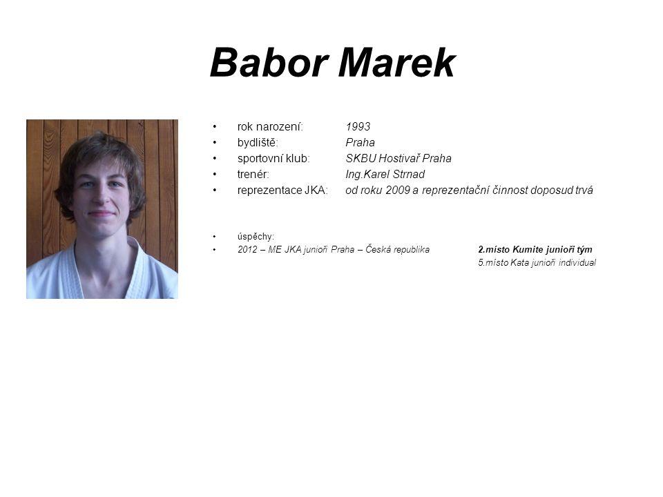 Babor Marek rok narození: 1993 bydliště: Praha