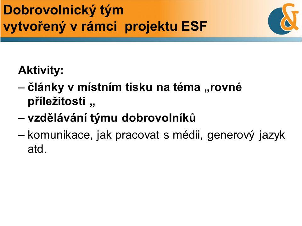 Dobrovolnický tým vytvořený v rámci projektu ESF