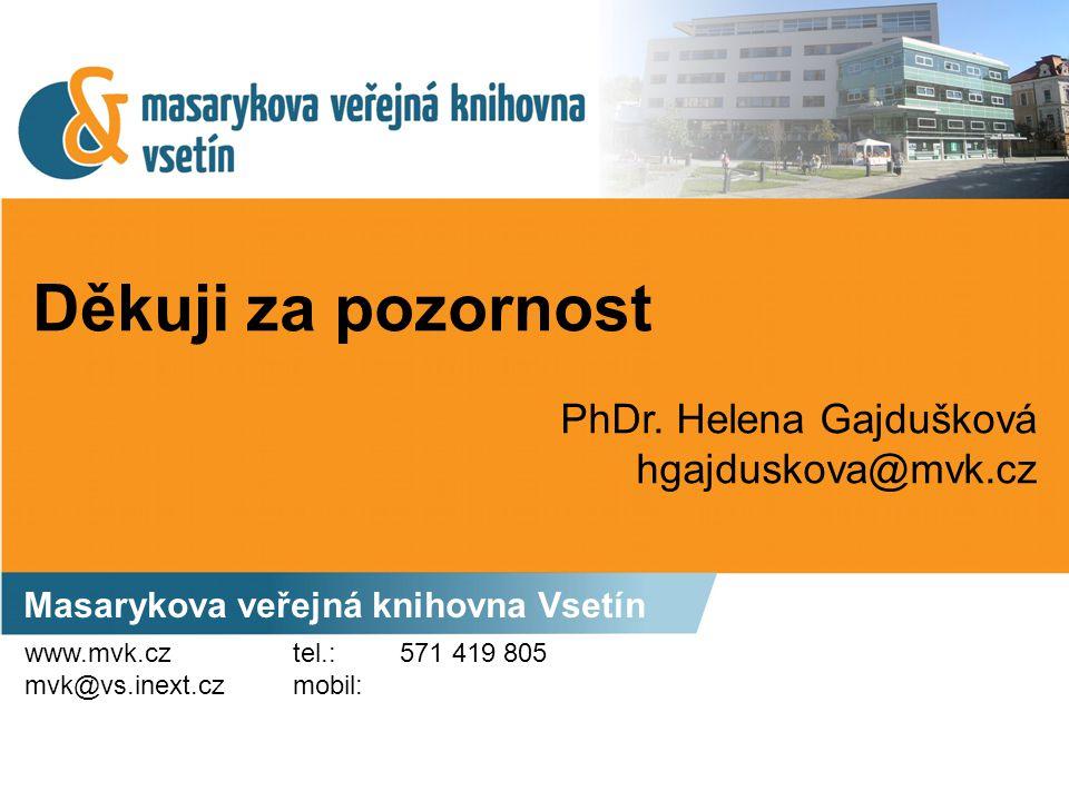 Děkuji za pozornost PhDr. Helena Gajdušková hgajduskova@mvk.cz