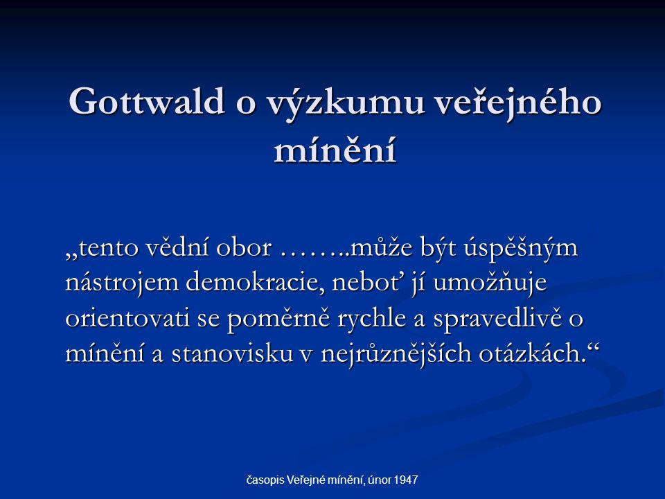 Gottwald o výzkumu veřejného mínění