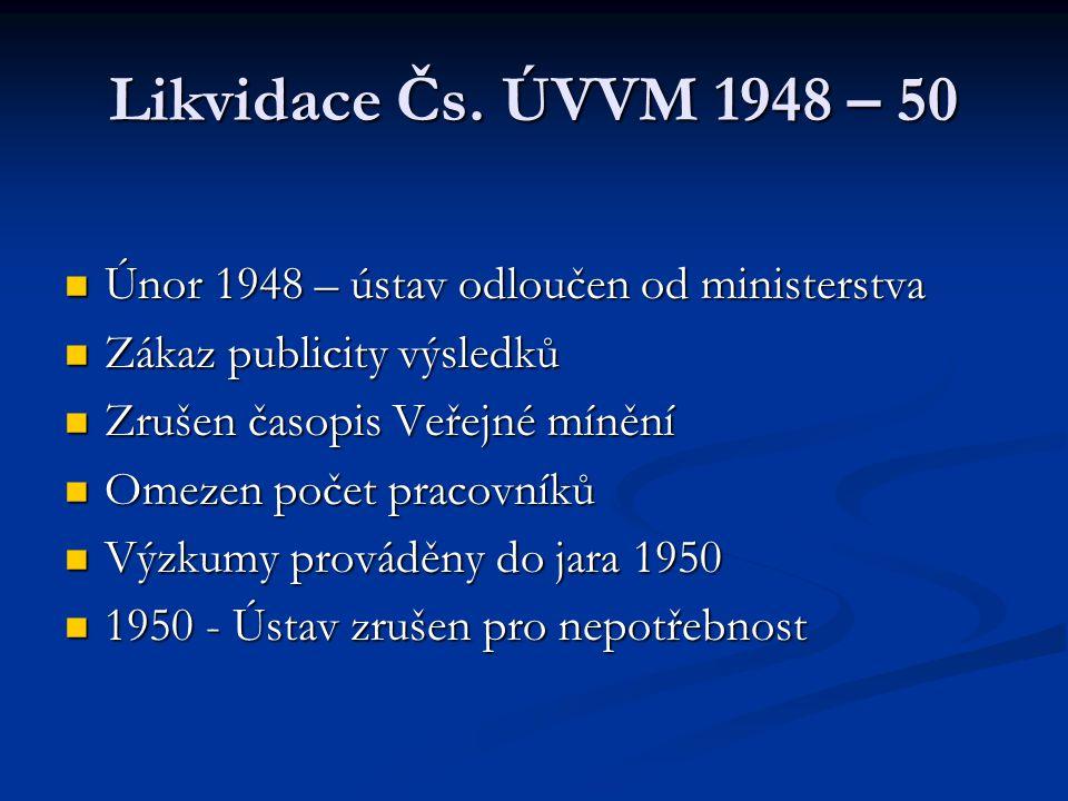 Likvidace Čs. ÚVVM 1948 – 50 Únor 1948 – ústav odloučen od ministerstva. Zákaz publicity výsledků.