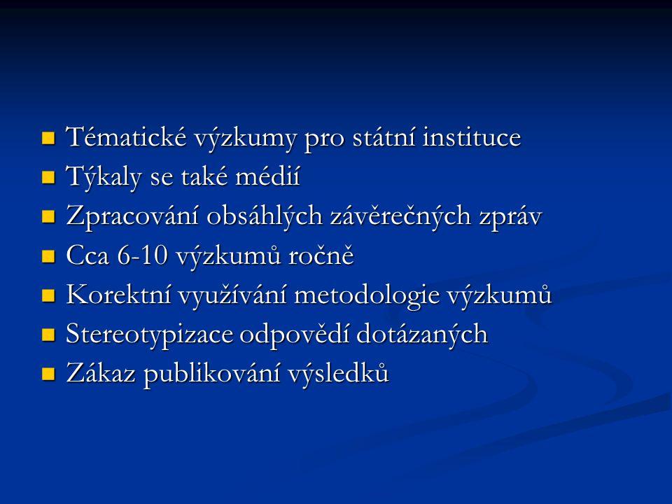 Tématické výzkumy pro státní instituce Týkaly se také médií