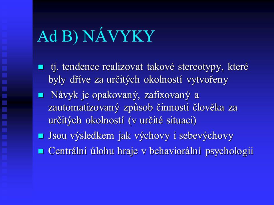 Ad B) NÁVYKY tj. tendence realizovat takové stereotypy, které byly dříve za určitých okolností vytvořeny.