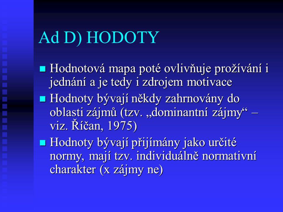Ad D) HODOTY Hodnotová mapa poté ovlivňuje prožívání i jednání a je tedy i zdrojem motivace.