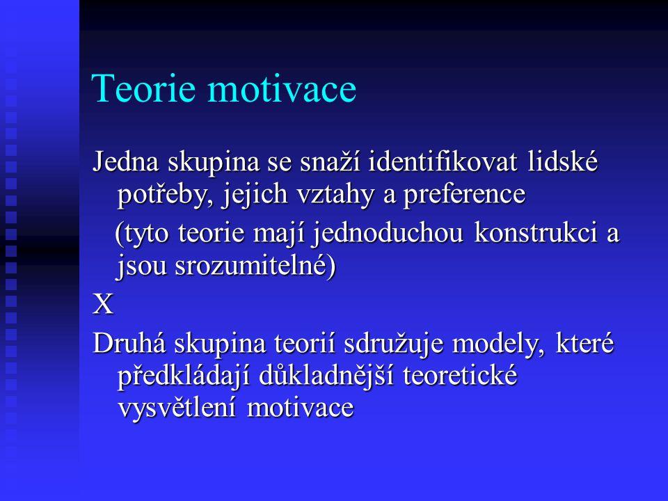 Teorie motivace Jedna skupina se snaží identifikovat lidské potřeby, jejich vztahy a preference.