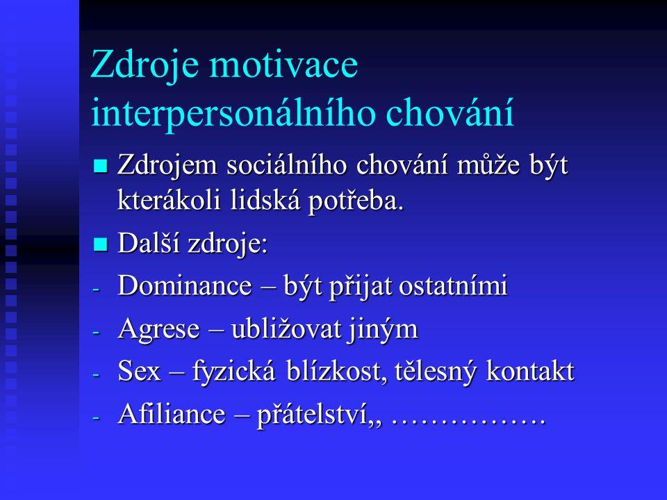 Zdroje motivace interpersonálního chování