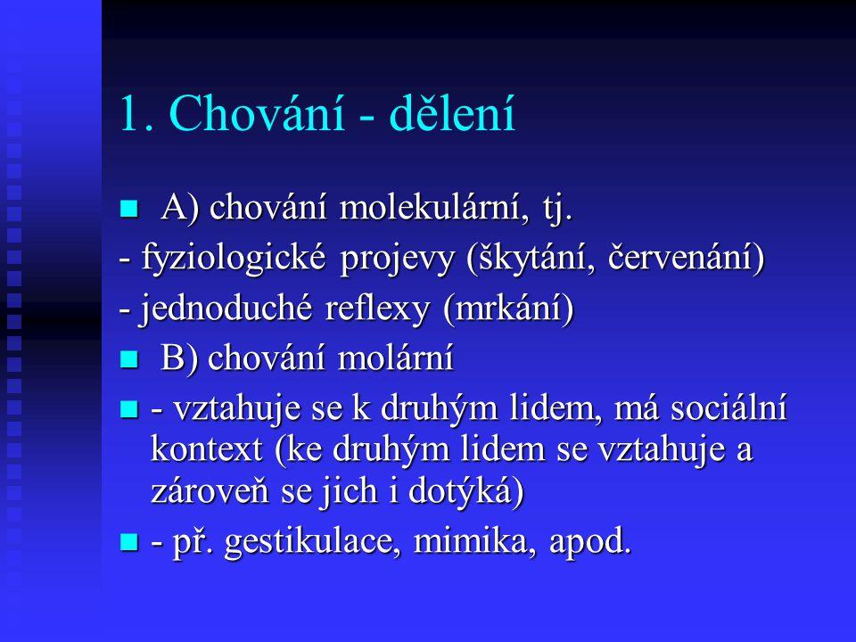 1. Chování - dělení A) chování molekulární, tj.