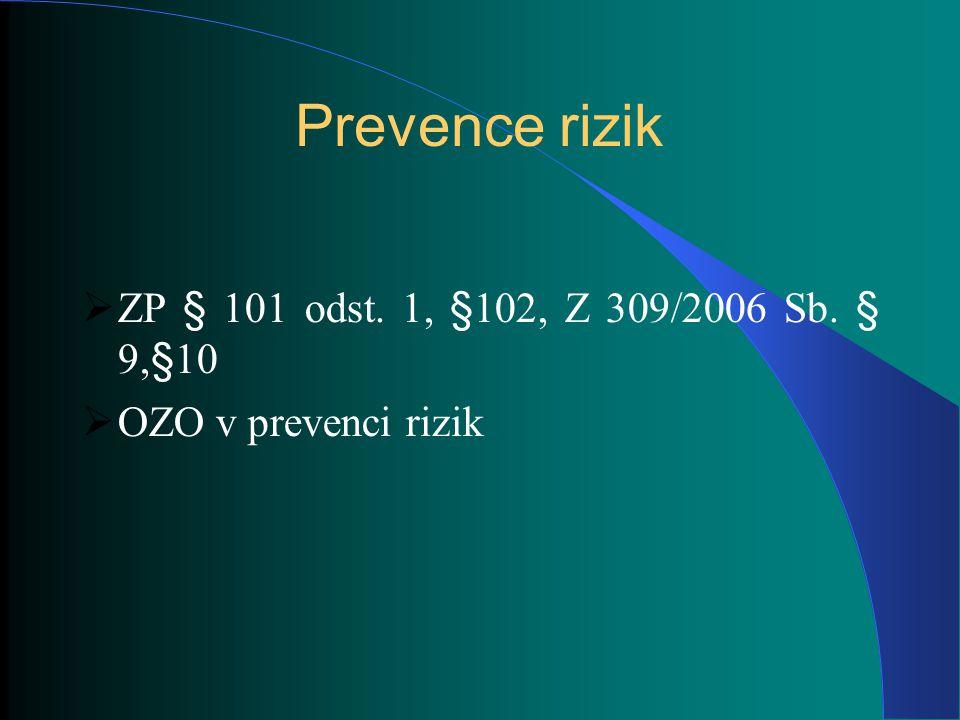 Prevence rizik ZP § 101 odst. 1, §102, Z 309/2006 Sb. § 9,§10