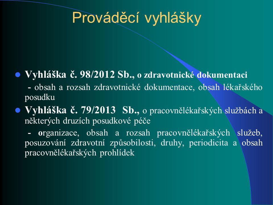 Prováděcí vyhlášky Vyhláška č. 98/2012 Sb., o zdravotnické dokumentaci