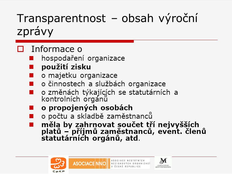 Transparentnost – obsah výroční zprávy