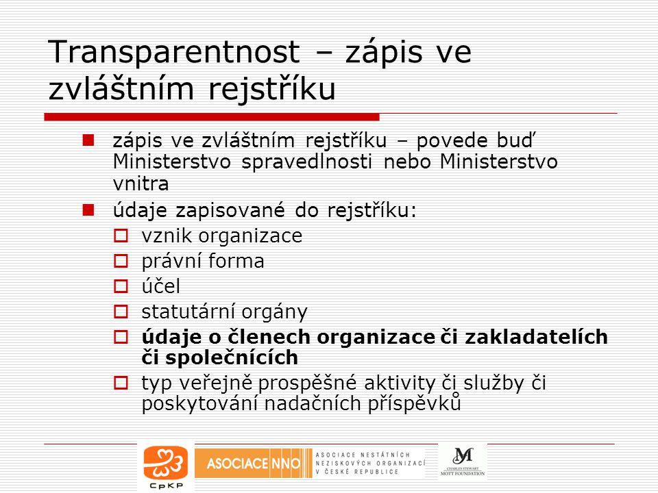 Transparentnost – zápis ve zvláštním rejstříku