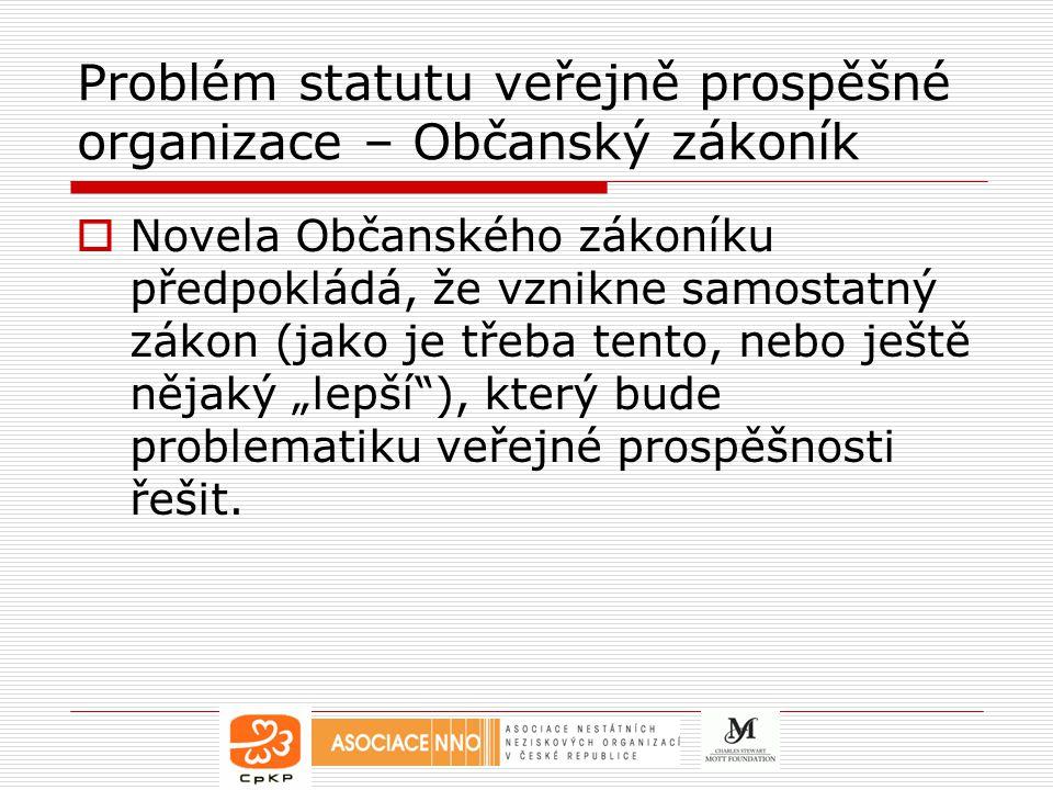 Problém statutu veřejně prospěšné organizace – Občanský zákoník