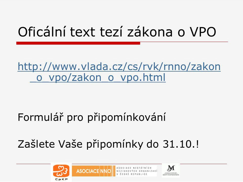 Oficální text tezí zákona o VPO
