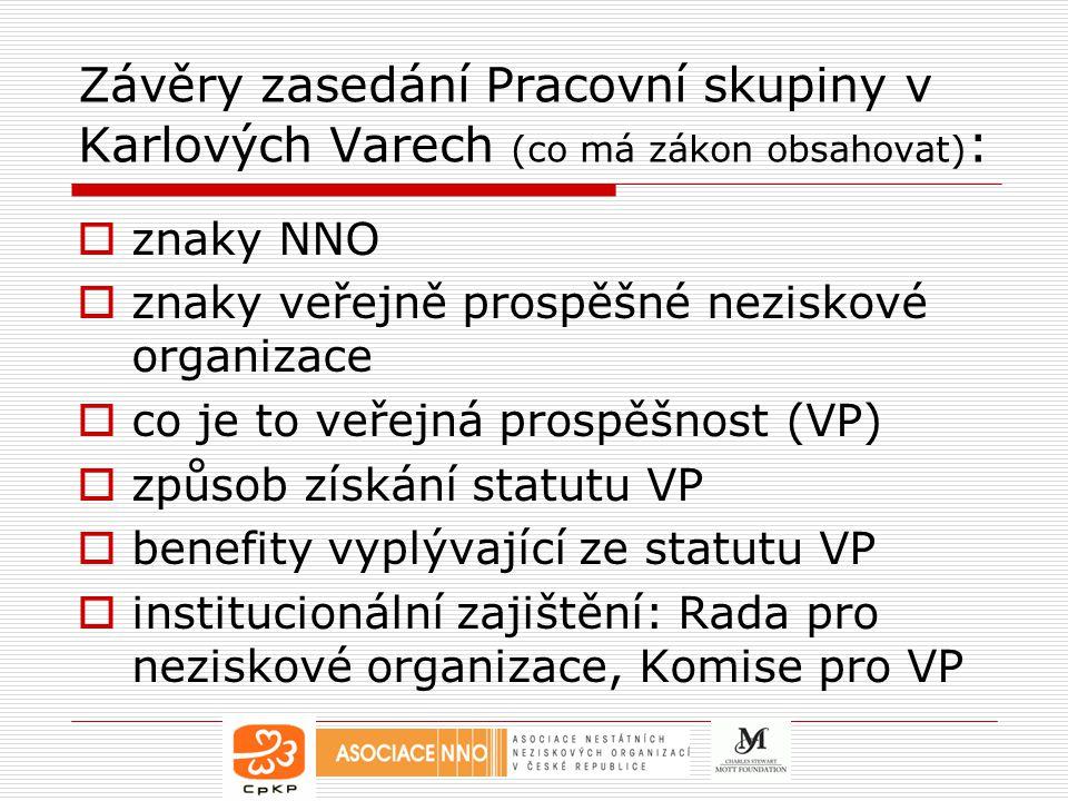 Závěry zasedání Pracovní skupiny v Karlových Varech (co má zákon obsahovat):