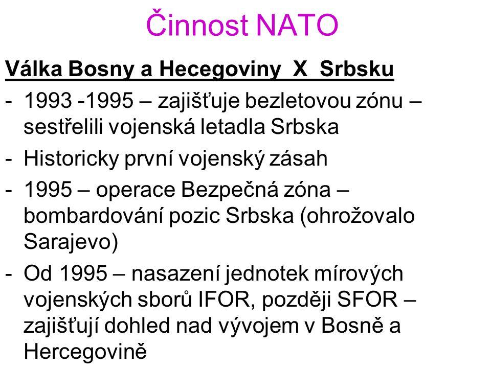 Činnost NATO Válka Bosny a Hecegoviny X Srbsku