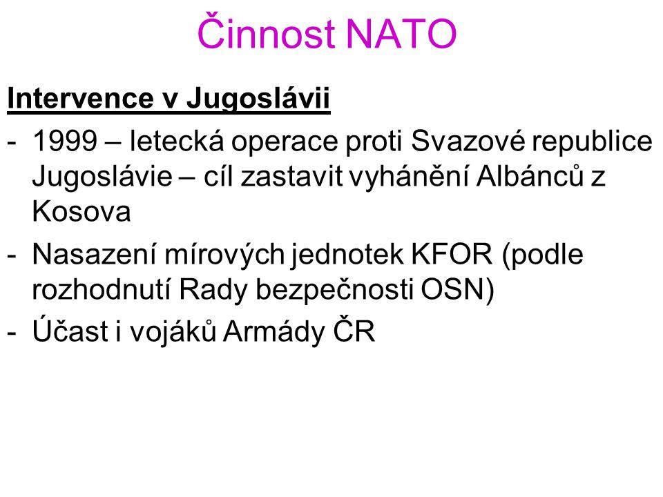 Činnost NATO Intervence v Jugoslávii