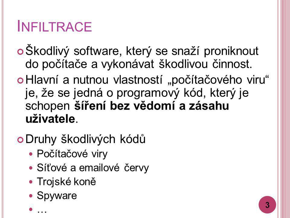 Infiltrace Škodlivý software, který se snaží proniknout do počítače a vykonávat škodlivou činnost.