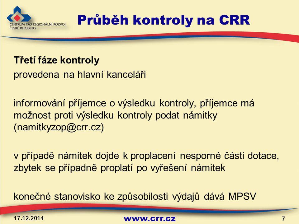 Průběh kontroly na CRR