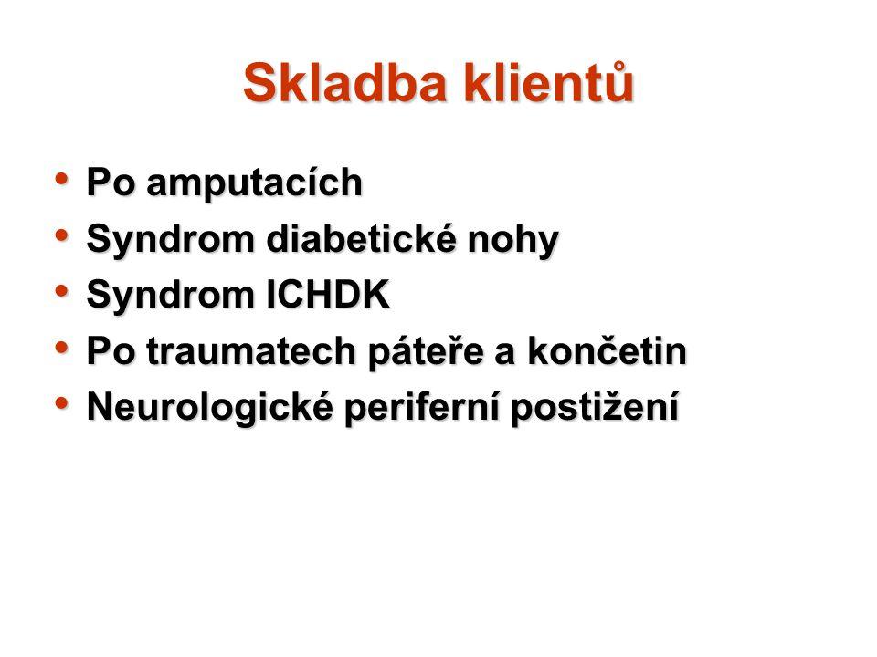 Skladba klientů Po amputacích Syndrom diabetické nohy Syndrom ICHDK